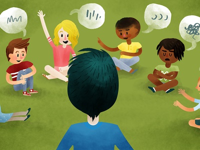 Acknowledging & Listening feelings emotions talking speech education children kids watercolor digital illustration
