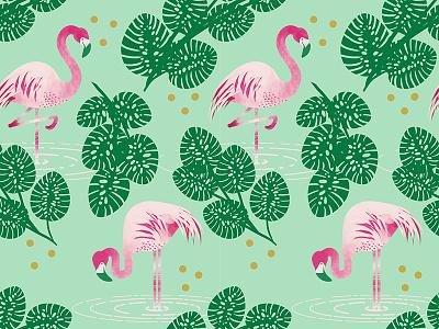 Flamingo Wallpaper repeat pattern leaf palm flamingo bird watercolor illustration digital wallpaper personal