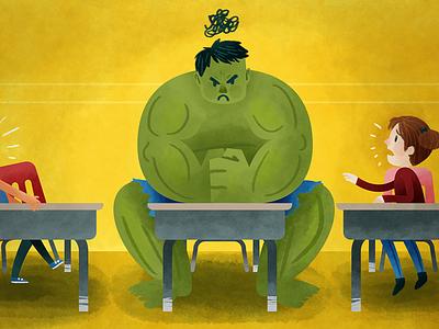 When Students Hulk Out Illustration superhero hulk anger feelings emotions watercolor teaching kids illustration education digital children