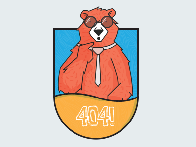 404 flat design error 404 graphic design flat design vector animal bear icon