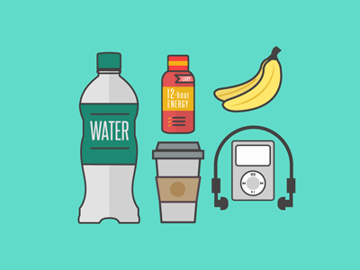Fitness Kit flat design graphic design flat design fruits coffee banana water music headphones