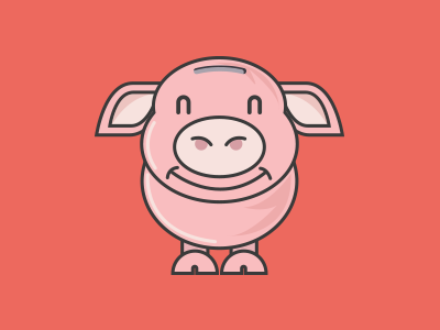 Piggi flat design pig bacon graphic graphic design flat design illustration saving money bank