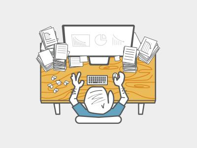 Desk office desk work computer sheets graphs paper wood table mouse
