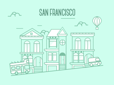 San Francisco san francisco design flat graphic design supplier city flat design