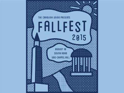 FallFest: Part 2 carolina unc chapel hill poster halftone one color pop at tarheel fall fallfest well old well