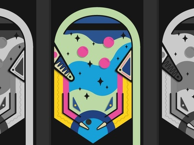 Pinball WIP illustration game stars arcade pinball