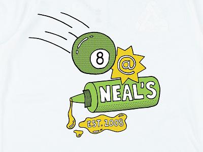 8 at Neal's halftone cartoon neals deli yellow green 2008 eight ball neal