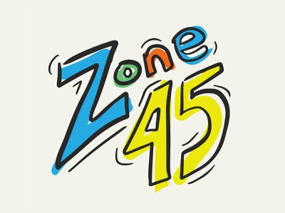 Zone 45 Fourth and Fifth Grade Ministry Logo illustrator hand lettering hand drawn kids