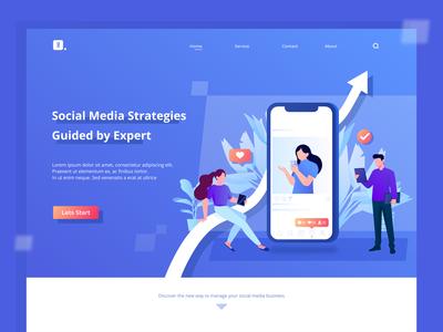 Social Media Strategies Hero Illustration Exploration