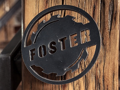 Foster Laser Cut logo branding wood working blade wood denver metal steel