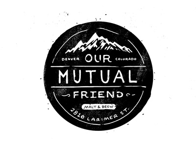 OMFMB our mutual friend denver brewery beer colorado badge sticker design drawn