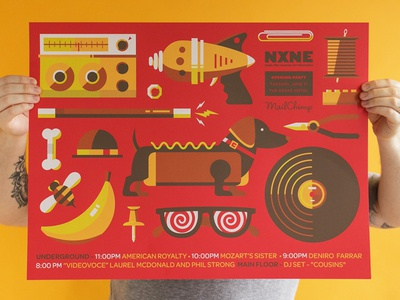 NXNE Opening Party Poster poster illustration screenprint music nxne party mailchimp magic wand banana x-ray glasses record pliers lego thread ray gun bone bee bowler paper clip push pin red hot french paper