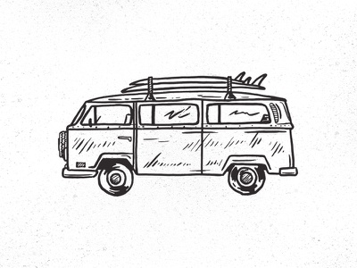Surf Wagon bus surfboards van illustration hand drawn our mutual friend larimer street lager beer denver brewery