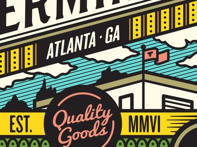 Quality Goods illustration goods flag clouds building atlanta wip