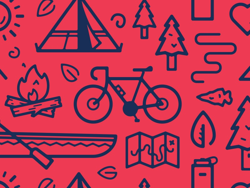 Outdoorsy pattern illustration bicycle tent tree campfire canoe map leaf arrowhead