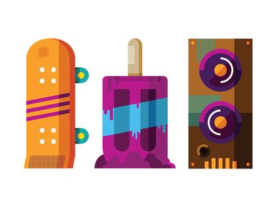 MailChimp Customer Party skateboard popsicle speaker party illustration installation fun stuff