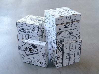 Gettin' Snappy packaging hand drawn sharpie illustration print patterns cameras