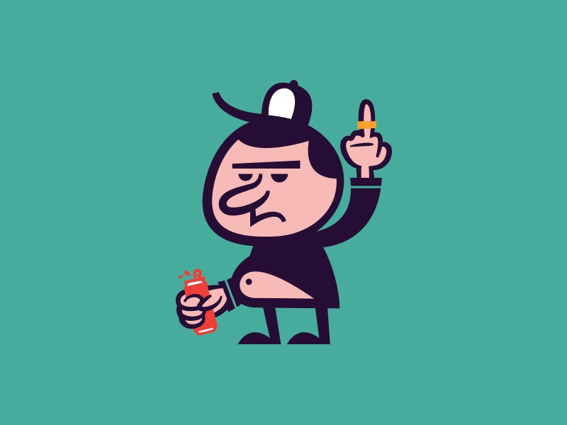Grumpy Bro illustration character beer belly alabama high five