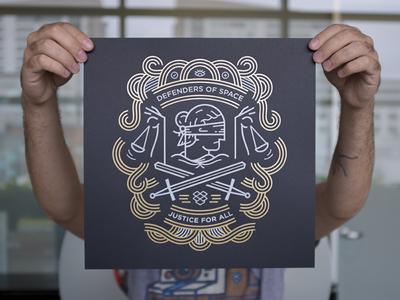 Defenders of Space metallica space dropbox letterpress foil illustration print