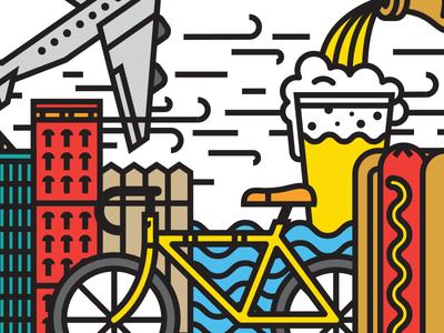 Show Me Some Bean mural illustration interior installation chicago hotdog bicycle bean