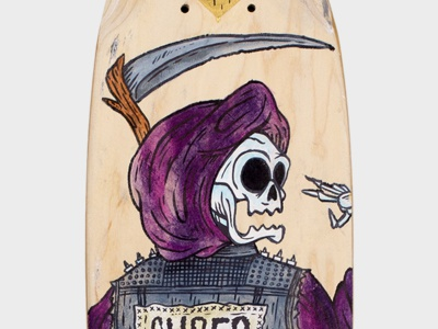 Ride On! skateboard megabolt jolby and friends ride on pdx illustration painting reaper skull