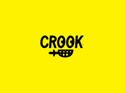 Crook ding dong knife mouth eyes thieve crook icon mark brand identity type