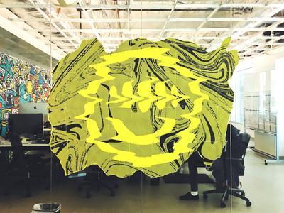 Interpaper office fluorescent illustration intercom acid drop wavvy interior art installation print paper