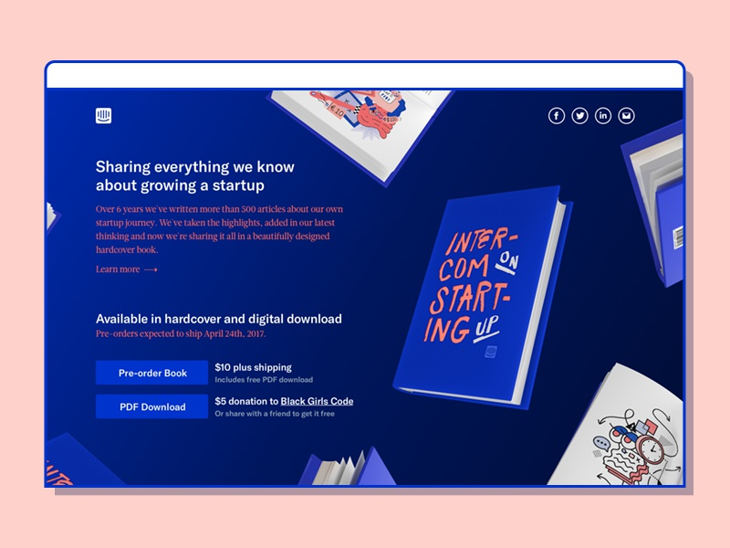 Intercom on Starting Up art digital editorial illustration bright af intercom print book web