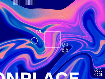 Zero Three print layout type liquid bright neon wavy texture abstract graveyard