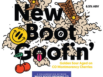 New Boot Goofin' cherries fart beverage drink sour print label beer our mutual friend