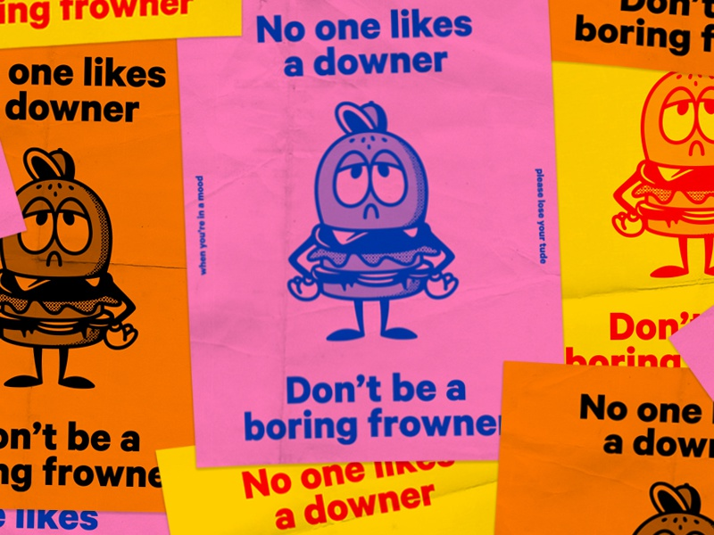 Don't Be A Downer cheeseburger downer frowner fart paper character riso print illustration