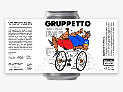 Gruppetto Imperial Tiramisu Stout bicycle illustration art fart packaging label can print beer