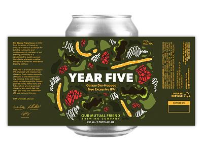 Year Five zings blobs bloops wiggles illustration art fart packaging label can print beer