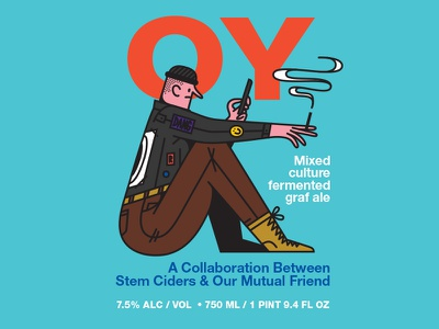 OY cigarette fart character ale our mutual friend brewery packaging print beer illustration