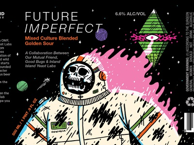 Future Imperfect our mutual friend science fiction skull packaging print brewery beer illustration