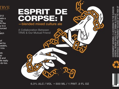 Esprit De Corpse brewery metal trve chains hands our mutual friend print packaging beer illustration