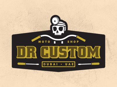 Dr Custom dr custom branding logo dubai motorcycle shop choppers custom doctor skull handle bars