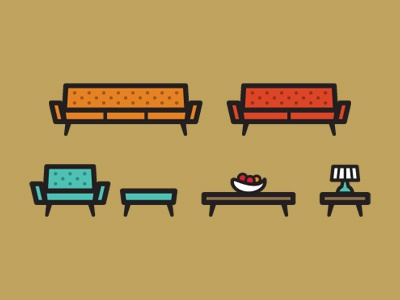 Furniture Set icons furniture illustration couch love seat sofa chair ottoman coffee table side table lamp fruit bowl modern ikea sucks