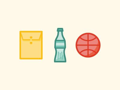 Icons envelope bottle basketball dribbble icons illustration tones colors fun