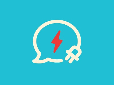 Tech Talks tech talks conversation chat text blog reviews lightning bolt cord plug bubble
