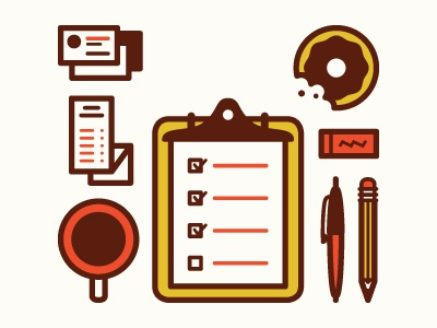 Work Time illustration fun desk checklist donut coffee pen pencil clipboard receipts cars eraser