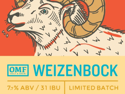 Weizenbock illustration beer denver brewery label weizenbock our mutual friend ram tiny hat