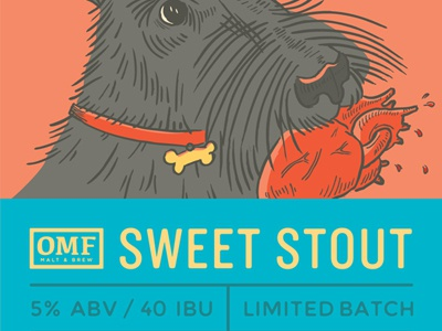 Sweet Stout illustration beer label denver brewery our mutual friend sweet stout dog remy heart