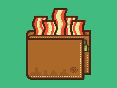 Bacon Wallet squarespace commerce illustration bacon wallet fun money grease