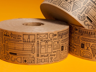 Packaging Tape tape print illustration packing shipping mailchimp designlab