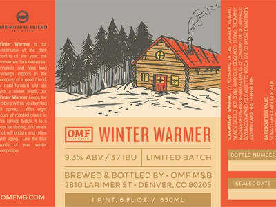 Winter Warmer illustration beer denver brewery label our mutual friend cabin snow winter warmer bottle