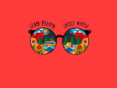 """Stay Trippy, Little hippie"" pop art wallpaper background glasses red illustration vector"