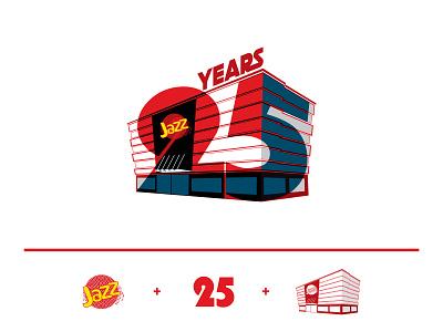 Jazz 25 years typo logo concept 25th anniversary flat design concept design vector minimal typography design logo illustration