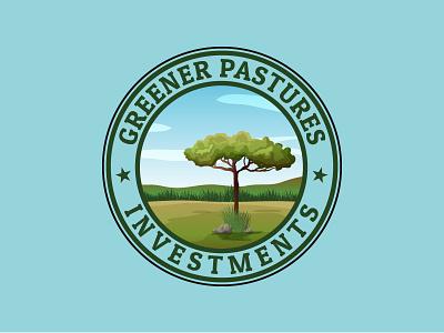 greener pastures investments field green vector design logo old logo illustration retro vintage