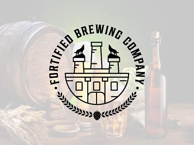 Fortified Brewing Company brewing vector branding logo design classic badge logo retro vintage